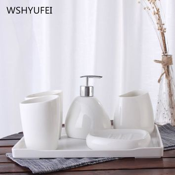 Quality life bathroom accessories five sets of bathroom supplies suite wash mouth cup toothbrush holder ceramic soap dish