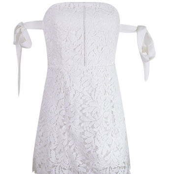 White Bardot Tie Sleeve Cutwork Lace Ladder Mini Dress