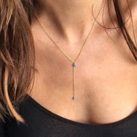 14K Gold Dipped Turquoise Lariat