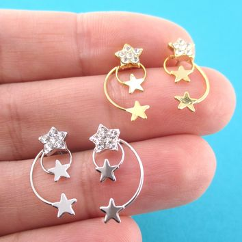 Pretty Shooting Stars Wire Wrapped Space Themed Drop Stud Earrings