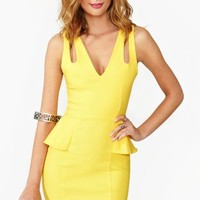 Crossover Peplum Dress - Yellow