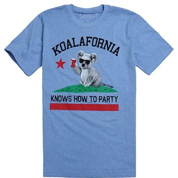 Riot Society Koala Knows T-Shirt - Mens Tee - Blue