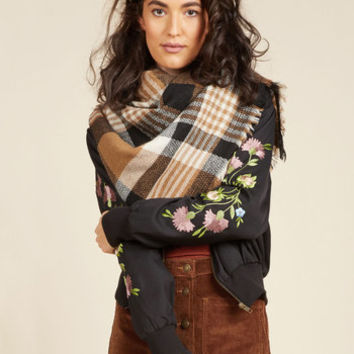Loch and Key Scarf In Brown Plaid | Mod Retro Vintage Keychains | ModCloth.com