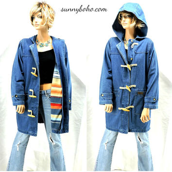 80s denim duster coat S / M  hooded jean coat removable southwestern fleece lining boho long denim jacket retro jean jacket SunnyBohoVintage