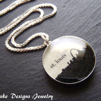 St. Louis Skyline silhouette Necklace Sterling Silver personalized city pendant
