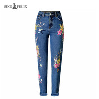 2017 spring new Women sweet floral embroidery holes denim jeans pockets ankle length pants ladies casual trouse SNIOFELIX TOP225