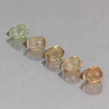 2.11 ct (total) Briolette with Hole Multicolor Tourmaline 5.3 mm