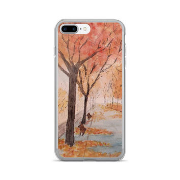 Autumn phone case, iPhone 7/7 Plus Case, fall phone case, watercolor unique Holiday phone case,  New York Central Park, NYC cell phone case