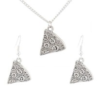 MJartoria Antique Silver Color Pizza Slice Friendship Necklace and Drop Earrings