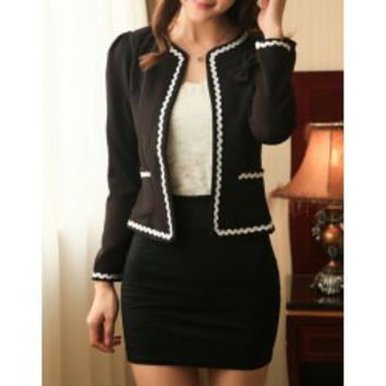 Elegant Jewel Neck Color Block Bowknot Embellished Long Sleeve Blazer For Women