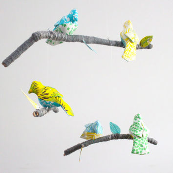 Custom 5 Bird Mobile for Baby Nursery Decor - modern fabric sculpture on yarn wrapped branches- Free US Shipping