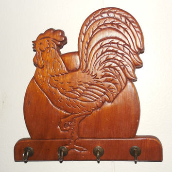 """Rooster Wall Plaque with Hooks 6"""" Tall, Vintage Measuring Spoon Holder for Wall"""