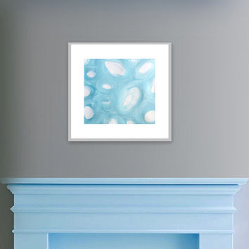 "Abstract Acrylic Painting Original Fine Art 7.5"" x 7.5"" by Linnea Heide - grey white - baby blue circles matted with white"