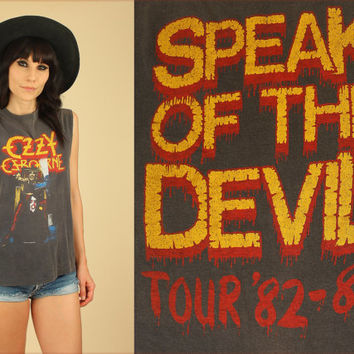 ViNtAgE OZZY Osbourne 1981 - 1982 Tour Shirt // Speak of the Devil // Black Sabbath // Muscle T-Shirt // 80's Concert Tee Rock n Roll