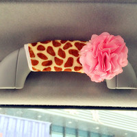 Girrafe Print Grab handle Cover with chiffon flowers, Unique Automobile Accessories, Car Decor, Automobile rearview cover