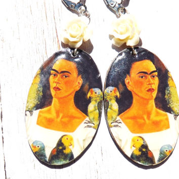 Wooden Frida Kahlo and Parrot Earrings