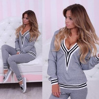 New Fashion Women Sportswear suit sexy v-neck stitching sports Costumes 2 Piece Set tops+pants = 4472615748