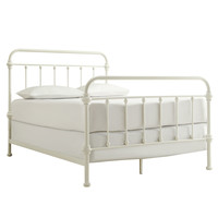 TRIBECCA HOME Giselle Antique White Graceful Lines Victorian Iron Metal Bed