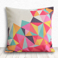 Geometric Pillow Cover, Pillow Cover, Fuschia Pillow Cover, Linen Pillow Cover, 18x18 - Printed Geometric - 099