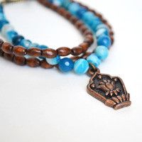 Yoga Bead Bracelet, Stacking Bracelet,Lotus Flower Charm Bracelet,Wood Jewelry, Sea Blue Emperor Stone from Fauna and Forest
