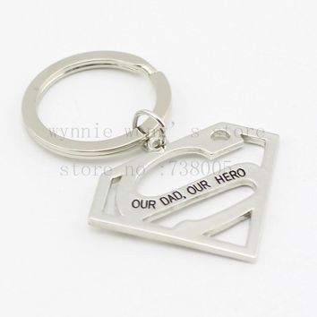 """Jewelry for Daddy Gift  Funny New Dad Gift """"our dad our hero"""" Hero Key Chain"""