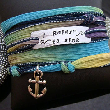 "SALE D2E inspirational quote hammered hand stamped ""I Refuse To Sink"" silk ribbon wrap bracelet with magnetic clasp"