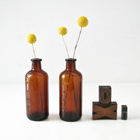 Brown Glass Antique  Bottles, 2 Vintage Vases, Apothecary Bottles