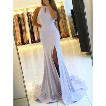 Simple Mermaid Long Evening Dress 2018 Backless Side Slit Satin Floor Length Sexy Prom Gown Custom Made Formal Occasion Dresses