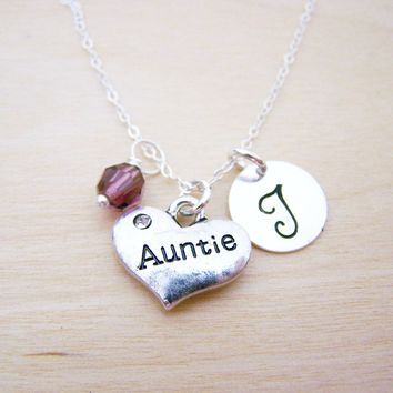 Auntie Charm Necklace -  Swarovski Birthstone Initial Personalized Sterling Silver Necklace / Gift for Her - Aunt Necklace