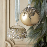 Opal Ball with Silver Beads Christmas Ornament, Set of 2 - Neiman Marcus