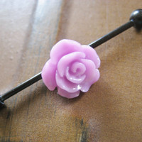 Industrial Barbell Piercing Bar Earring Jewelry Lavender Rose Flower 14g 14 G Gauge