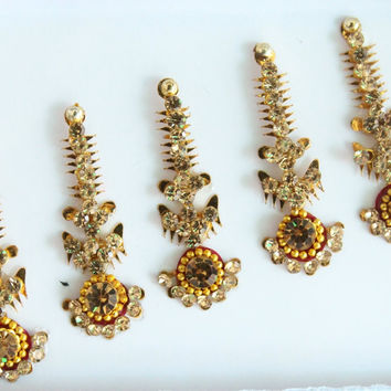 5 Straight Antique Long Bindis,Bridal Long Bindis Sticker,Stone Bindi,Gold Bindis Face Jewels Bindis ,Antique Bindis,Body Art Glittery Bindi