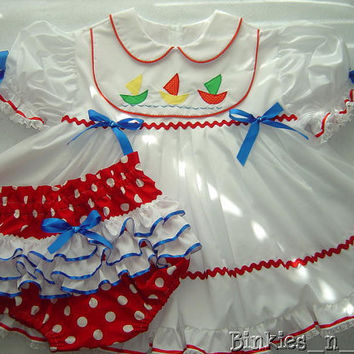 Adult Baby Sissy Littles ~ Anchors Aweigh Dress Set ~ Binkies n Bows
