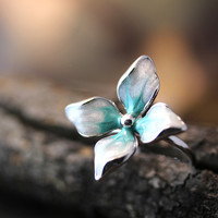 Gorgeous Floral Ring Colorful Flower Adjustable Ring Free Size Plated Jewelry