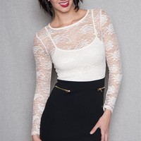 Kimcine Lace Top Bodycon Mini Dress With Long Sleeves - White