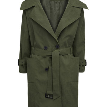 Army Green Double Breasted Belt Waist Split Back Trench Coat
