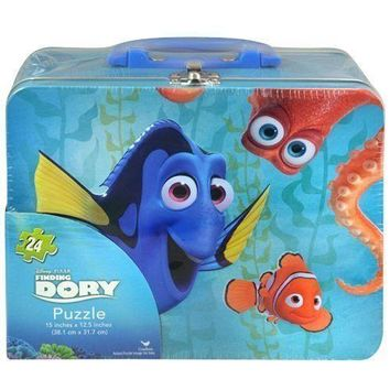 Disney Finding Dory Large Lunch Tin Box w/24 pc Puzzle