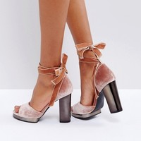 Truffle Collection Tie Up Slim Platform Sandal at asos.com