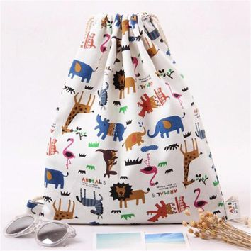 Women Casual Beach Bags Cotton canvas Retro Drawstring Beam Port Lion Elephant Animal Cartoon Print Backpack Shopping Travel Bag