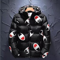 Champion Winter New Men Women Full Logo Print Hooded Zipper Cardigan Jacket Cotton Coat Black
