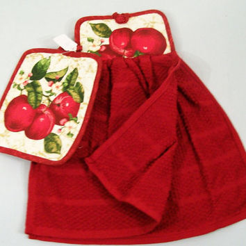 Hanging Dish Towel Set--Apples 2pc set with double towel -Made in the USA--