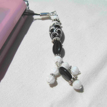Black and White Porcelain Phone Charm