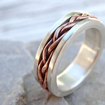 hand braided ring silver copper, silver copper wedding band mens eternity ring, mixed metal, unique mens ring two toned, anniversary gift