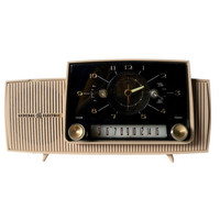 1950's vintage GE tube radio - General Electric Model C434C in beige/ tan- Retro, mid century, Mad Men, atomic age, space age, modern