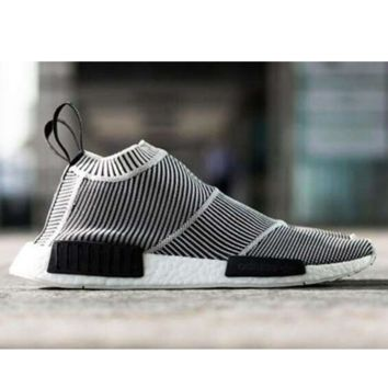 "Women ""Adidas"" NMD Boost Casual nmd Sports Shoes Black white stripe"