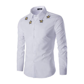 Mens Fashionable Stars Dress Shirt