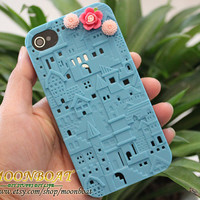 Blue European Style Building Hard Case for Apple by moonboat