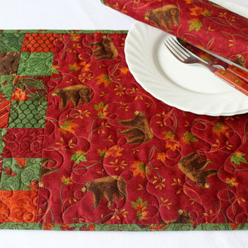 Quilted Placemats - Fall Placemats - Bears - Maple Leaves - Autumn Table Mats- Red Green Place Mats - Set of 2 placemats