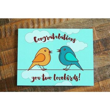 Congratulations You Two Lovebirds! – Cute Wedding Card