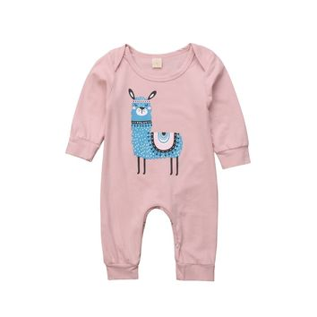 Cute Outfits Newborn Infant Kid Girl Baby Alpaca Romper Long Sleeve Playsuit Sunsuit Clothes